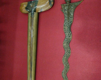 Antique Kris, Creese or Keris Dagger Indonesian with wood-carving Handle and Wooden Sheath with Metal Casing