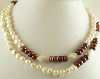 Freshwater White & Chocolate Pearl Necklace, Bracelet and Earrings Set