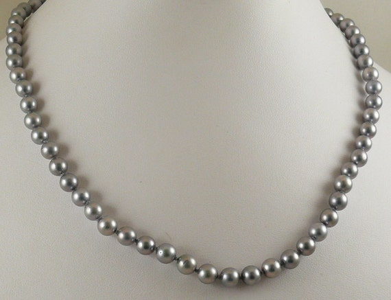 Akoya Gray 6 mm - 6.5 mm Pearl Necklace With 14K White Gold Fish Lock, 17 3/4 ""