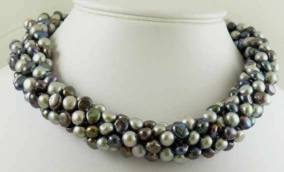 Fresh Water Black & Gray Pearl 6 Strand Necklace with 14k Yellow Gold Clasp