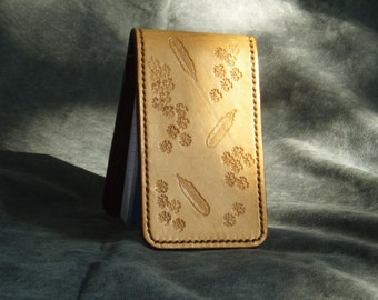 Leather notepad / card holder hand tooled natural veg tan