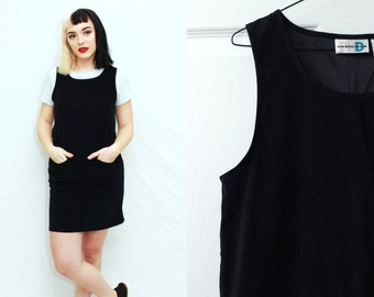 Vintage 1990s Black Faux Suede Sleeveless Shift Dress / medium