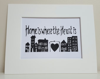 Home Print, Home is where the heart is, hand printed lino cut.