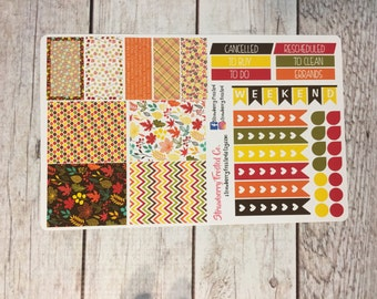 Fall Leaves Themed Planner Stickers in Rainbow Colors- Made to fit Vertical Layout