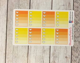 Yellow and Orange Monthly Ombre Checklist Planner Stickers   Horizontals