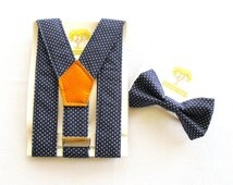 Navy Polka Dot, Braces and Bow Tie Set, Toddler Bow Tie, Toddler Suspenders, Baby Bow Tie, Baby Suspenders, Baby Boy Gift