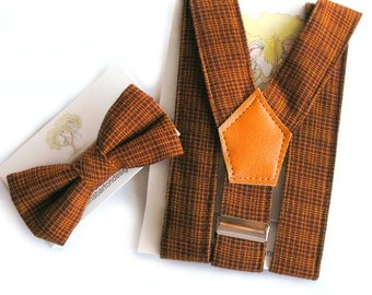 Vintage Brown Braces and Bow Tie Set. toddler braces, baby bow tie, baby boy gift set, boys suspenders and bow tie, suspender set