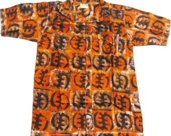 Allswell Men's Batik Shirt, Dark Orange and Black, B12M42, Free US shipping