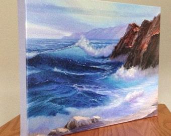 Ocean Waves Print, Beach Canvas Art, Canvas Art Print, Ocean Print, Coastal Landscape, Beach Art, Wave, Sea, Nautical, Ocean Decor