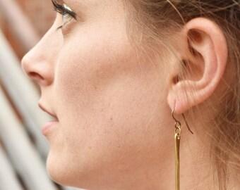 Brass Bar Earrings