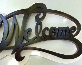 Wooden hand made welcome home decor sign/plaque. Can be customized to your choice of color, let us know.