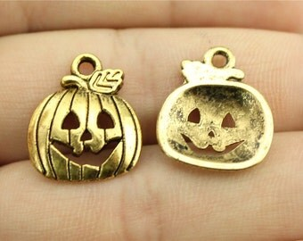 6 Jack O Latern Pumpkin Charms, Antique Gold Tone Charms (1C-236)