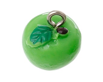 4 Green Apple Charms, 3D Resin (1I-187)