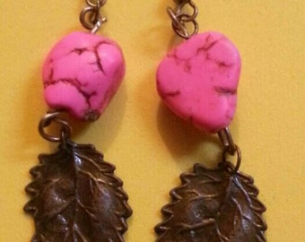 pink turqoise and antique bronze leaf earrings.