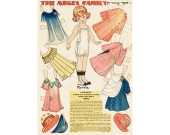 Paper Doll Digital Angel Family Myrtle Penny Ross Printable Instant Download