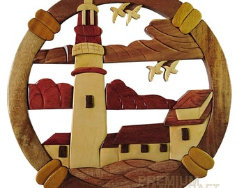 "12"" Handcrafted Wooden Lighthouse WE16290"