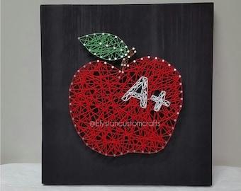 String Art, Apple, Teacher Gift, Teacher Appreciation Gift, Classroom Decor, Wall Art