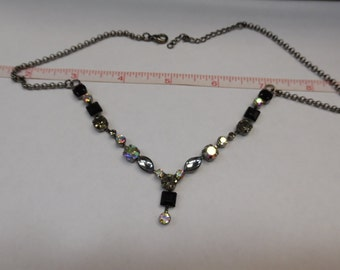 "Vintage Aurora Borealis And Black Rhinestone 19"" Necklace - Gently Used"