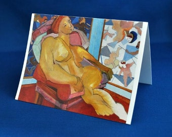 NUDE LISTENING 1 - Fine Art Card, blank note card, figurative art, contemporary art, nude print, greeting cards, gift idea, artwork, cards