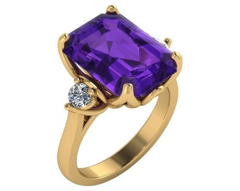 4 Carat Amethyst Engagement Ring in 14k Yellow  gold. Emerald Cut Amethyst Ring, Diamond and Amethyst Ring in gold.