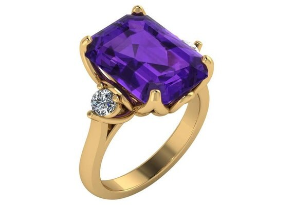 4 Carat Amethyst Engagement Ring In 14k Yellow Gold Emerald