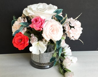 Romantic Paper Flower Bouquet Centerpiece With Pink, White & Red Roses, Hydrangeas and Hand Painted Accents, Realistic Looking Flower Decor