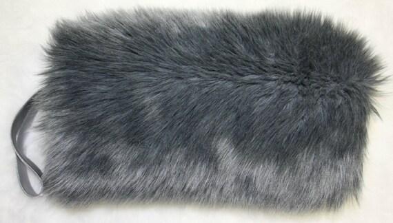 Grey Gray Silver Faux Fake Fur MUFF Hand Warmer Soft