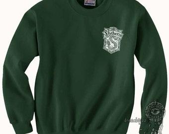 Slyth Crest #2 Pocket WHITE print on Forest green Crew neck Sweatshirt