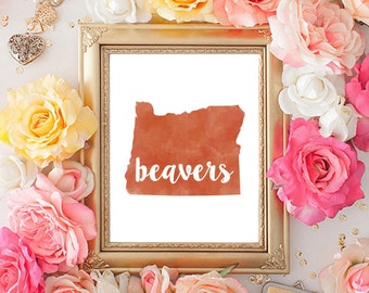 Oregon State Beavers Watercolor State Printable (8x10)