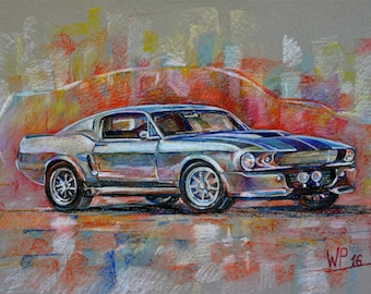 Kunst-Originalgemälde  Mustang Shelby GT500 Baujahr 1967