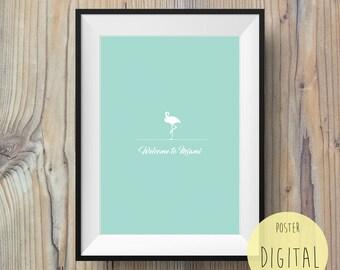 Poster Print Scandinavian, flamingo welcome to miami