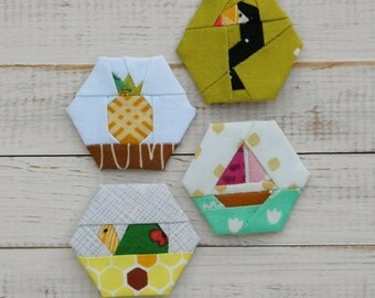 Tropical - a paper piecing hexagon pattern
