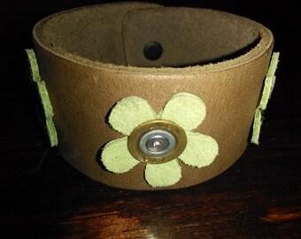 Leather 12ga Cuff Bracelet