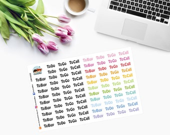 To Do, To Go, To Call in BLACK & COLOUR Planner Stickers CAM00233