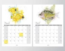 Calendar 5x7 watercolor, Fish watercolor calendar, Desk calendar, Printable monthly calendar planner, Painting, DIY, Instant download