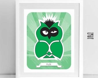 "Superhero owl, Hulk, Nursery owl wall art, Kids room decor, Cute owl hero drawing, 8x10"""