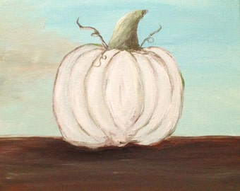 White Pumpkin Fall/Autumn Painting