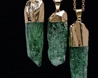 Fluorite Green Quartz Necklace, gemstone necklace, gemstone pendant, quartz pendant,