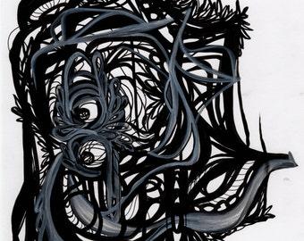 Feathered Elephant - Original Abstract Art Print