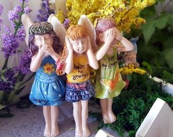 Miniature Fairy Trio - See No Gnomes, Hear No Gnomes, Speak No Gnomes!