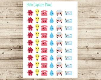 Kawaii Bill Due Planner Stickers