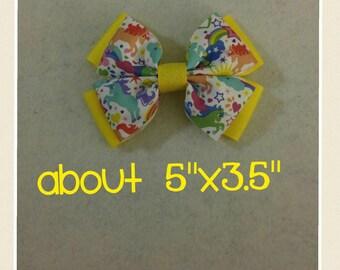 Unicorn/rainbow hair bow