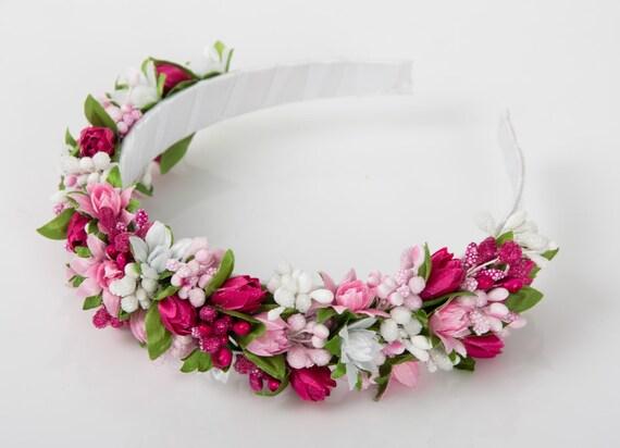 Pink floral crown / girl headband/ flowergirl crown / ukrainian tulip flower crown/ pink lily tulip / vinok / floral crown