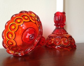 Amberina Moon & Stars Pattern Candlestick Holders - Set of 2 / Red Orange and Yellow Amber Glass Candle Holders / L.E. Smith Glass Co