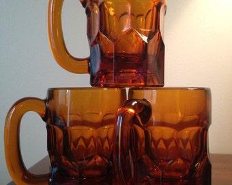 Deep Amber Honeycomb Glass Mugs - Set of 3 / Georgian Pattern Coffee Mugs / Beer Mugs / Coffee Cups
