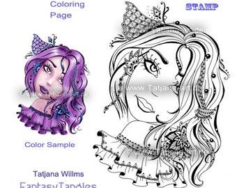 Sarah - Doodle/Zentangle coloring Digi stamp