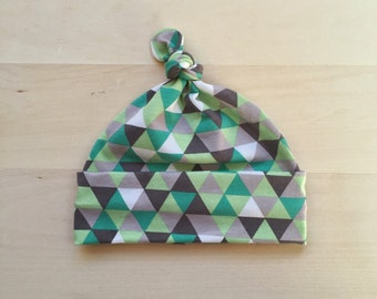 Knot Top Baby Hat - 0-3 Months - Shades of Green Triangles