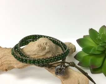 Handmade Double Wrap Taiwan jade Olive Green Leather Bracelet (M044)