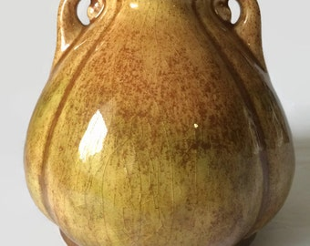 Diana Pottery Gourd Shaped Vase, Browns and Greens, Vintage Australian Pottery