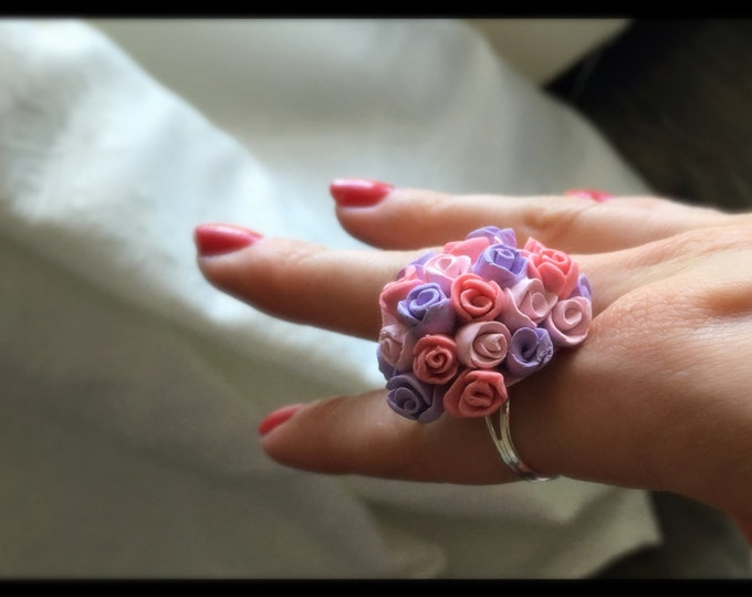 Rose Ring, Flower Girl Jewelry, Fimo Rose Ring, Romantic Ring, Rose Jewelry, Bridal Gift, Floral Ring, Wedding Jewellery